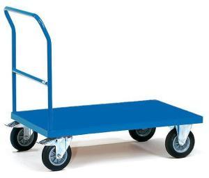 Платформенная четырехколесная грузовая складская тележка